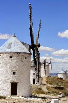 Spain, La Mancha, History, Blue, Wind, Mill