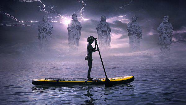 Fantasy, Boat, Water, Statues, Figures, Flash, Girl