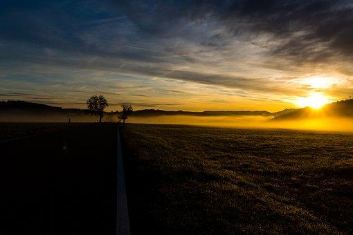 Sunrise, Fog, Landscape, Nature, Morgenstimmung, Sun