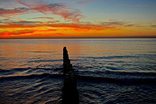 Sunset, Waters, Dusk, Sea, Abendstimmung, Romantic, Sky