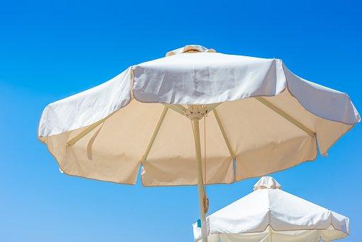 Beach, Umbrella, Blue, Sky, Summer, Vacation, Coast