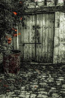 Door, Old, Wooden, Aged, Weathered, Barrel, Rusty