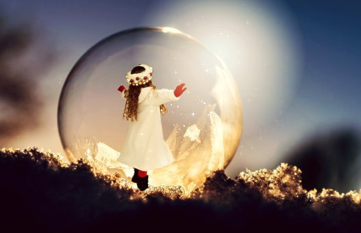 Christmas, Girl, Child, Soap Bubble, Frost, Winter