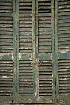 Wood-fibre Boards, Wood, Old, Door, Window, Green