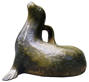 Seal, Dog Seal, Bronze Statue, Figure, Animal Figure