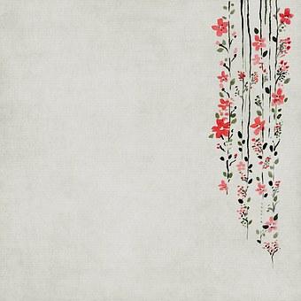 Background, Scrapbook, Paper, Asian, Flowers, Grey