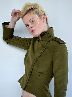 Blonde Hair, Blue Eyes, Green Jacket, Buttons, Model