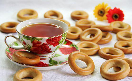 Bagel, Dry, Tea, Cup, Breakfast, Morning, Bread, Circle
