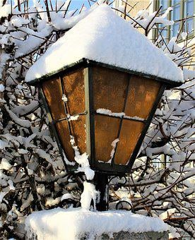 Lamp, Snow, Wood, Winter, Old, Tealight Holder, Frost
