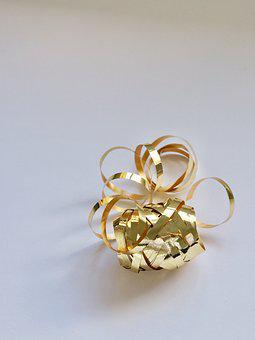 Gold, Gift, Shining, Decoration, Ribbon, Christmas