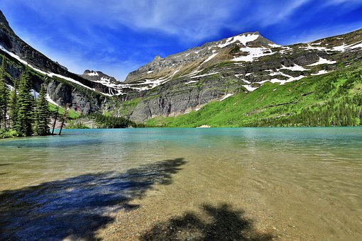 Grinnell Lake, Glacier National Park, Trail, Water