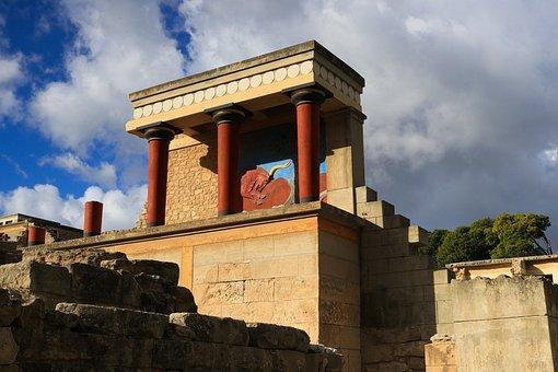 Crete, Knossos, Greece, Antiquity, Ruin, Relief, Bull