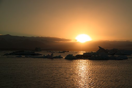Jokulsarlon, Glacier, Iceberg, Cold, Lake, Sunset