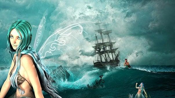 Fee, Mermaid, Ship, Shipwreck, Sea, Disaster, Wreck