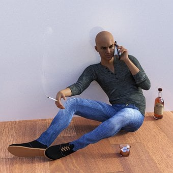 Man, Mobile Phone, Portrait, Alcohol, Whisky, Cigarette
