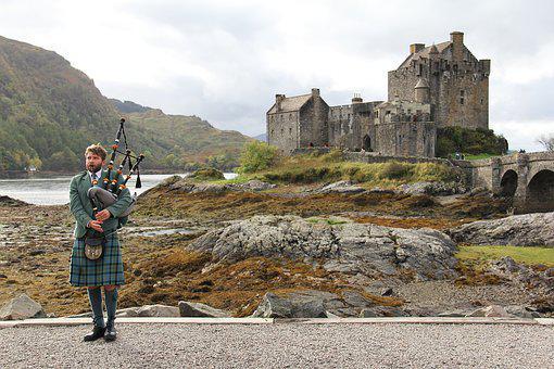 Bagpipes, Highlander, Castle, Scottish, Man, Person