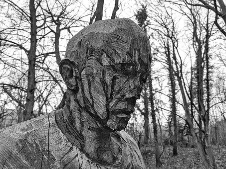 Face, Forest, Wood Carving, Portrait, View, Sad, Men