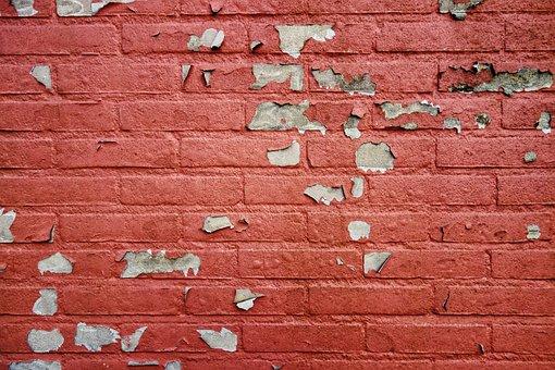 Wall, Brick Wall, Red Brick Wall, Flaking Paint