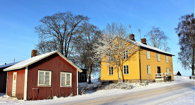 House, Winter, Snow, Architecture, Red House