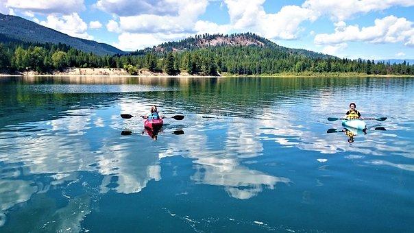 Kayaking, River, Summer, Clouds, Hills, Blue Skies