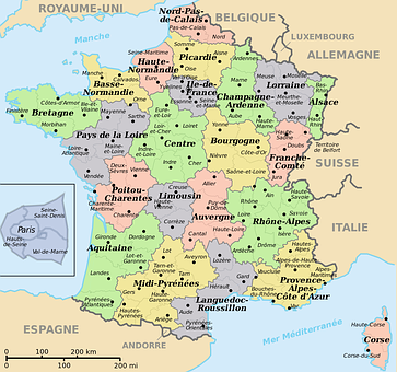 Map Of France, Translated Into French, Departments