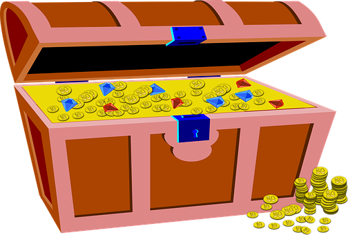 Treasure, Box, Gold, Coins, Pirate, Jewels, Fortune
