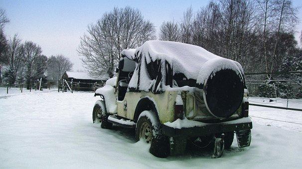Jeep, Car, Snow, Hibernation, Winter, Transport