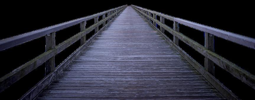 Wood, Level, Bridge, Web, Boardwalk, Railing, Away