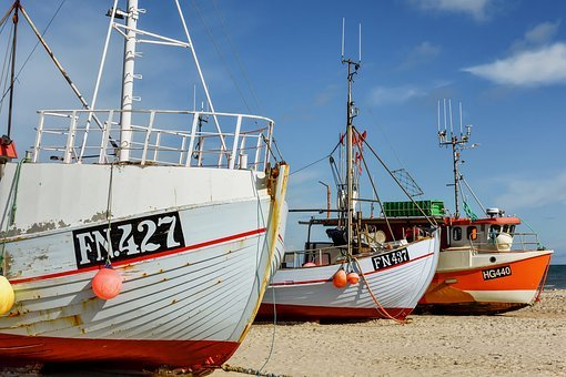 Fishing Boat, Beach, Sea, Denmark, Boot