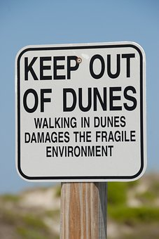 Sand Dune, Sign, Warning, Protected, Environment, Sand