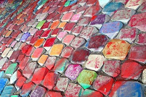 Stones, Blocks, Rock, Graffiti, Paint, Spray, Wall