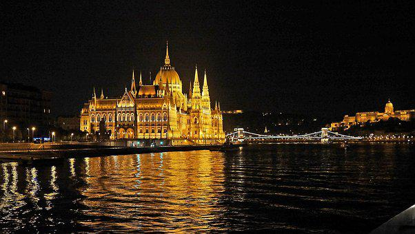 Budapest At Night, Illuminated, Houses Of Parliament