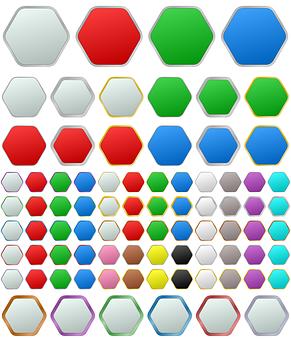 Hexagon, Button, Metallic, Metal, Vector, Set, Silver