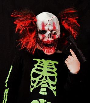 Horror Clown, Halloween, Mass Murderer, Pistol, Mask