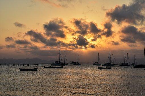 Sunset, Body Of Water, Mar, Beach, Sky, Sol, Ocean