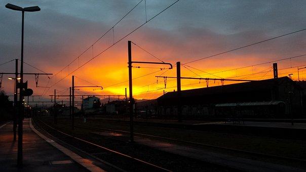 Transport, Twilight, Train, Track, Sunset
