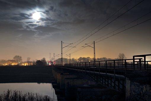 Railway Line, Train, Transport, Trip, Travel, Night