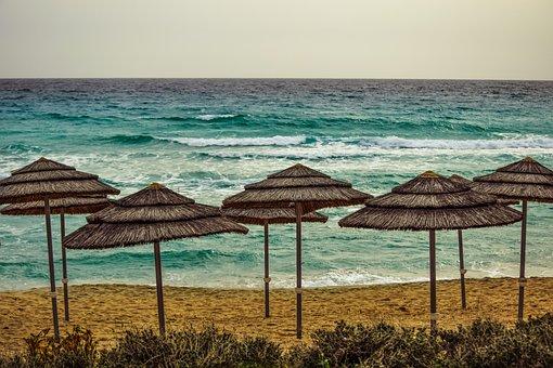 Seashore, Beach, Empty, Sea, Umbrellas, Winter