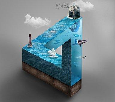 Sea, Micro World, Triangle, Water, Fish, Undersea World