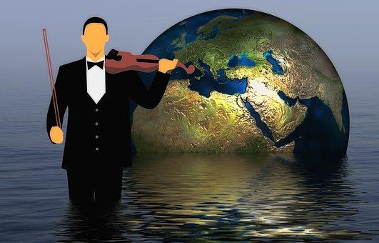 Globe, Man, Geiger, Violin, Music, Setting, Apocalypse