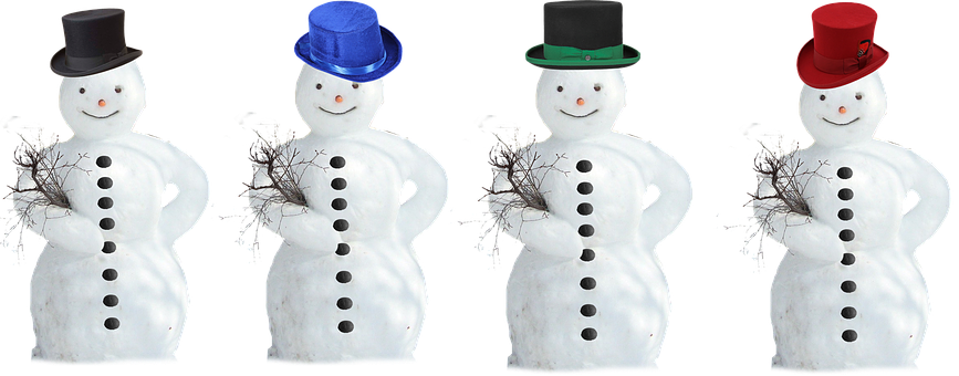 Snow Man, Top Hat, Isolated, Winter, Wintry
