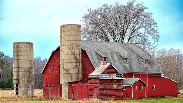 Barn, Silo, Outdoors, Sky, Wood