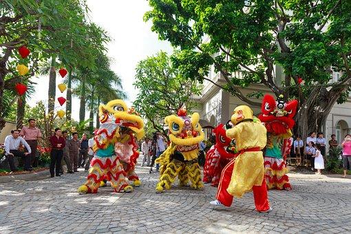 Jump, Lion, Year, Good Luck, China, Tet, New Year