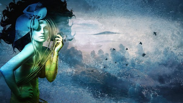 Creation, Imagination, Digital, Blue, Color, Canvas