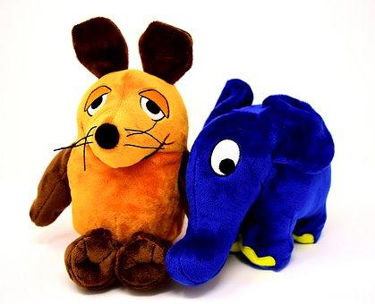Mouse, Elephant, Blue, Soft Toys, Plush Toys, Cute