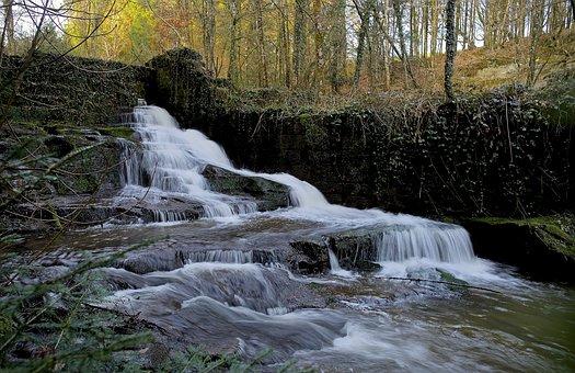 Cascade, Landscape, Vosges, France, Nature