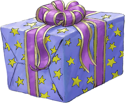 Present, Gift, Purple, Lilac, Stars, Wrapped, Celebrate