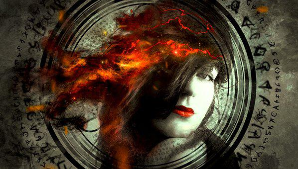 Fantasy, Portrait, Woman, Hair, Fire, Symbol, Light