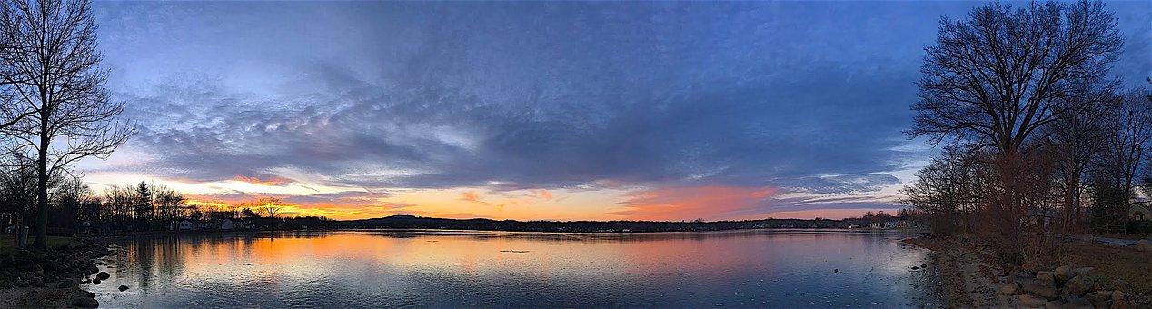 Panoramic, Sunset, Lake, Ice, Reflection, Nature, Sky
