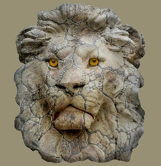 Lion Head, Statue, Animal, Old, Face, Head, Nature